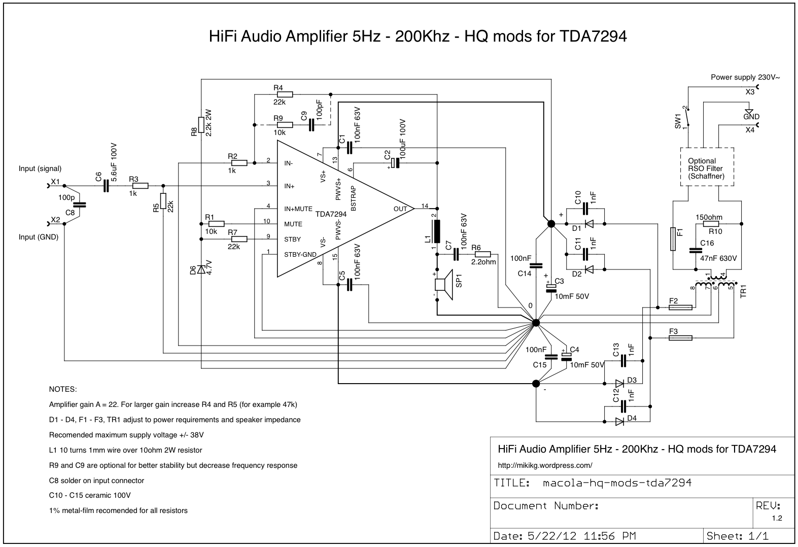 Hq Modifikacija Za Tda7294 Hifi Audio Amplifier 5hz 200khz 100w Audiio Kao